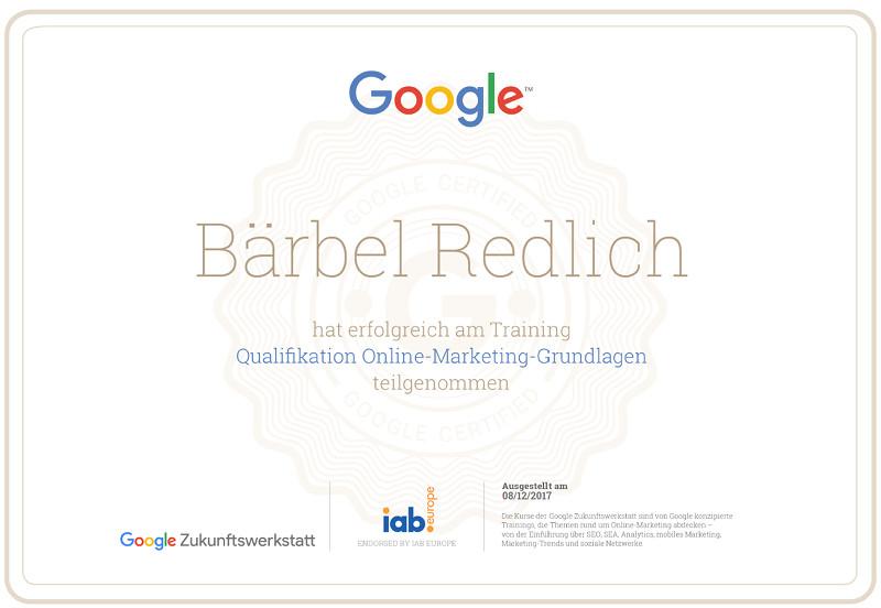 Zertifikat der Zukunftswerkstatt von Google
